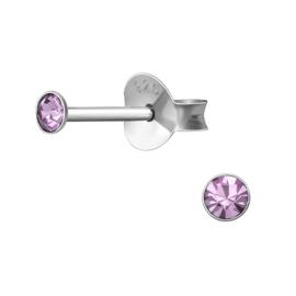 Oorbellen Sterling zilver 925 Rond knopje purple 2,5mm