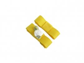 Babyhaarspeldje met lint geel met wit roosje