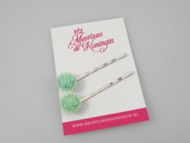 Schuifspeldjes roosjes met randje mintgroen