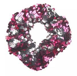 Haarelastiekjes pailletten scrunchie roze