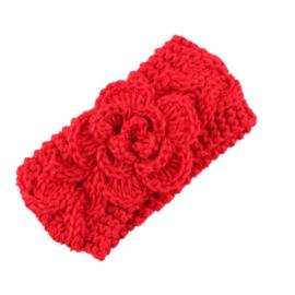 Haarbandjes gebreid bloem rood