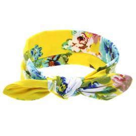 Haarbandjes knoop bloemenprint geel