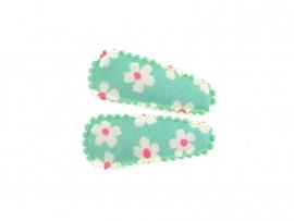 Babyhaarspeldjes groen met witte bloemen