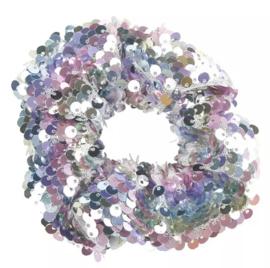 Haarelastiekjes pailletten scrunchie regenboog
