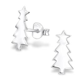 Kinderoorbellen Sterling zilver 925 Kerstboom met ster