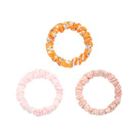 Haarelastiekjes mini scrunchie oranje/roze