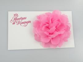 Haarbloem chiffon groot roze