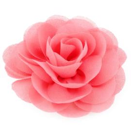 Haarbloem groot stof bloem felroze/coral