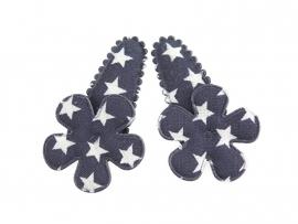 Babyhaarspeldjes blauw met ster en bloem