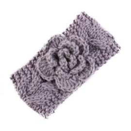 Haarbandjes gebreid bloem grijs