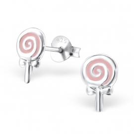 Kinderoorbellen Sterling zilver 925 Lolly roze