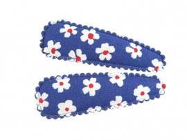 Haarspeldjes blauw met witte bloemen