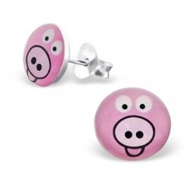 Kinderoorbellen Sterling zilver 925 Varkentjes roze