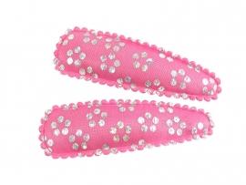Haarspeldjes roze satijn met zilverprint