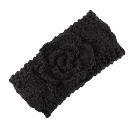 Haarbandjes gebreid bloem zwart
