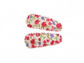 Babyhaarspeldjes rood met paarse bloemen