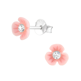 Kinderoorbellen Sterling zilver 925 Bloem roze met kristal