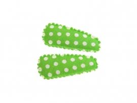 Babyhaarspeldjes groen gestipt