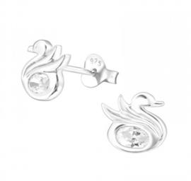 Kinderoorbellen Sterling zilver 925 Zwaan met zirkonia