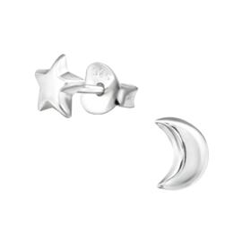Oorbellen Sterling zilver 925 Ster en maan