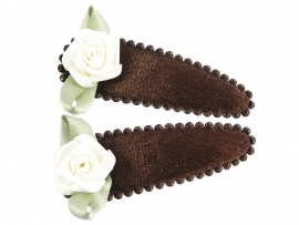 Haarspeldjes bruin fluweel met creme roosje
