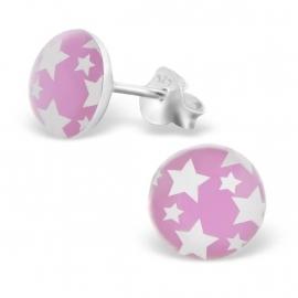 Kinderoorbellen Sterling zilver 925 Roze sterren