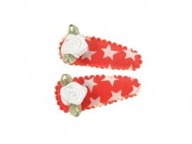 Babyhaarspeldjes oranje met ster en wit roosje