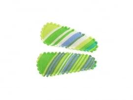 Babyhaarspeldjes groen gestreept