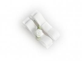 Lokknipje met lint wit met wit roosje