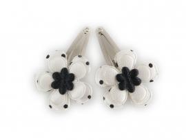 Babyhaarspeldjes wit met zwart gestipte bloem