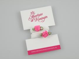 Haarelastiekjes badstof wit met fuchsia roosje