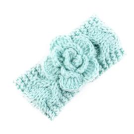 Haarbandjes gebreid bloem mint