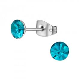 Oorbellen Chirurgisch staal Kegel blauw