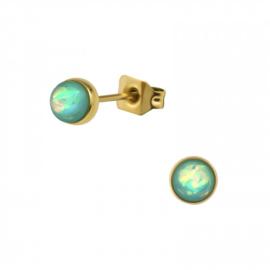 Oorbellen Chirurgisch staal Mint opaal