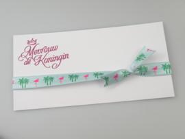Haarbandjes elastisch strik flamingo/palmboom