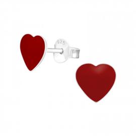 Kinderoorbellen Sterling zilver 925 Hart rood
