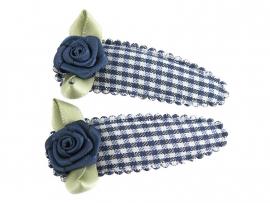 Haarspeldjes blauw geruit met blauw roosje