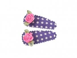 Babyhaarspeldjes paars gestipt met fuchsia roosje