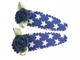 Haarspeldjes kobaltblauw met ster en donkerblauw roosje