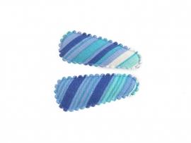 Babyhaarspeldjes blauw gestreept
