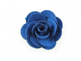 Haarbloem vilten roos kobaltblauw