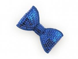 Lokknipje pailletten strik kobaltblauw