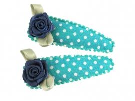 Haarspeldjes zeegroen gestipt met blauw roosje