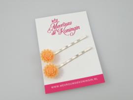 Schuifspeldjes roosjes met randje oranje