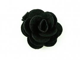 Haarbloem vilten roos zwart
