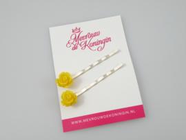 Schuifspeldjes kleine roosjes geel