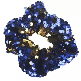 Haarelastiekjes pailletten scrunchie blauw