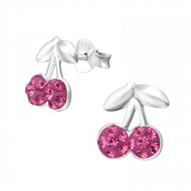 Kinderoorbellen Sterling zilver 925 Kers kristal roze