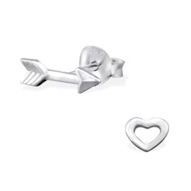 Oorbellen Sterling zilver 925 Hart en pijl