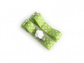 Lokknipje met lint groen gestipt met wit roosje